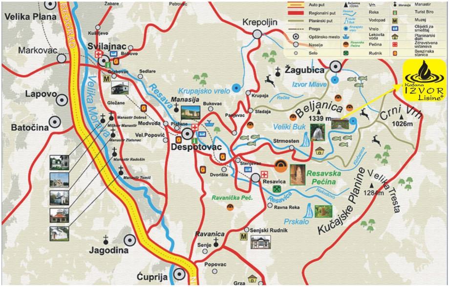 mapa srbije despotovac Lisine   kafana sa prenoćištem